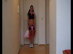 Skinny teen cheerleader Andrea gets her pussy destroyed with huge cock