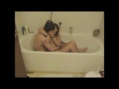 Chubby amateur girlfriend hardcore drilled in hot bath in pussy and ass